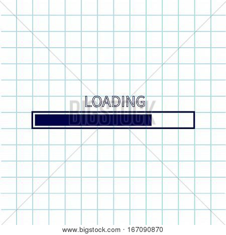 Loading progress status bar icon. Web design app download timer. Notebook paper texture cell Squared blank sheet of copybook white background. Flat trendy element. Vector illustration