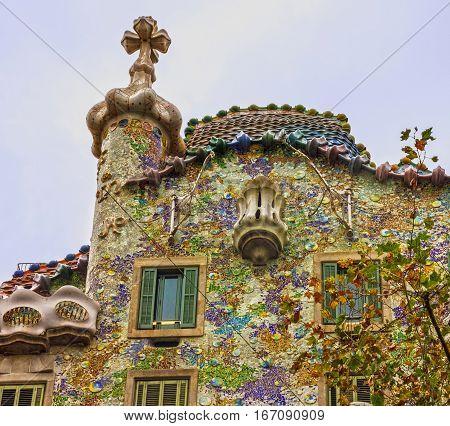 Barcelona, Spain - Jan 4, 2017: Famous house Casa Batllo, Gaudi