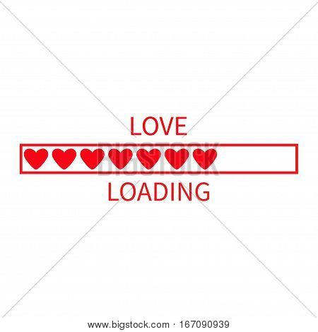 Progress status bar icon. Love loading collection. Red heart. Funny happy valentines day element.Web design app download timer. White background. Flat trendy object. Isolated. Vector illustration