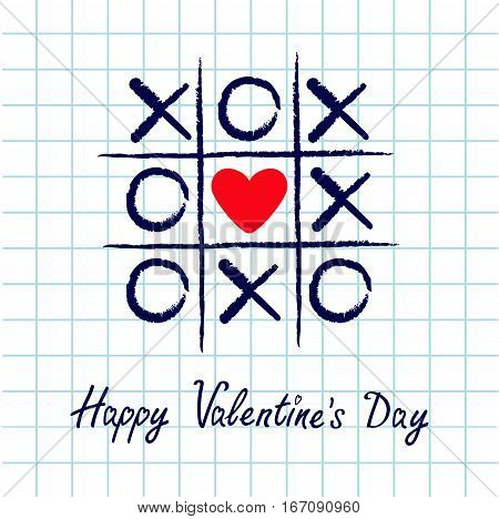 Tic tac toe game with criss cross and red heart sign mark XOXO. Hand drawn blue pen brush. Doodle line. Happy Valentines day card Flat design. Exercise book White background. Paper sheet. Vector