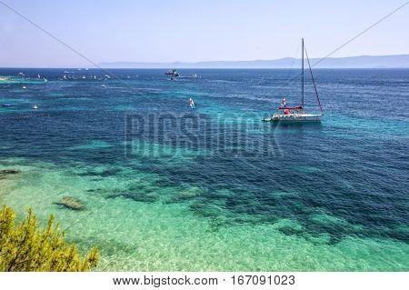 Adriatic sea water, yacht in Croatia, Brac island