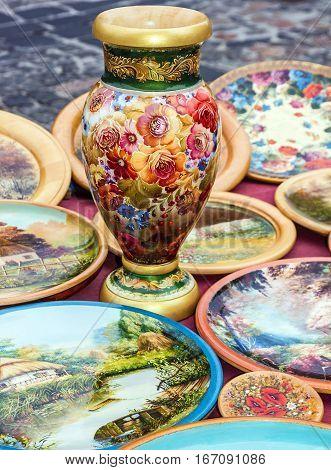 Vase - painting traditional Ukrainian wooden souvenir ware, Kiev, Ukraine