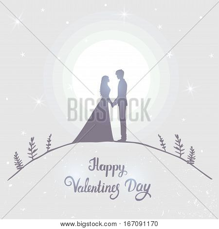 Romantic silhouette of loving couple in the moonlight. Valentines Day. Happy Lovers. Romantic card. Vector illustration