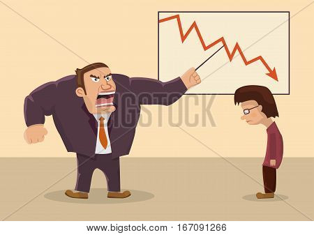 Angry boss screaming at an employee.Vector illustration.