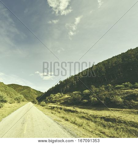 Asphalt Road in the Cantabrian Mountain Spain Vintage Style Toned Picture