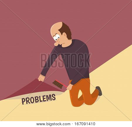 Sweeping problems under the carpet. Vector illustration.