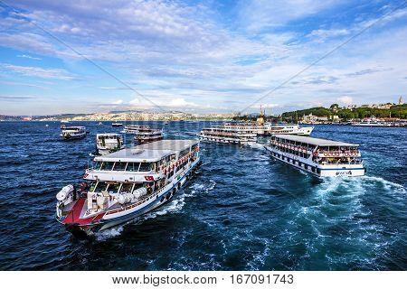 Istanbul, Turkey - Jan 5, 2017: Cutters in Bosporus, Istanbul, Turkey