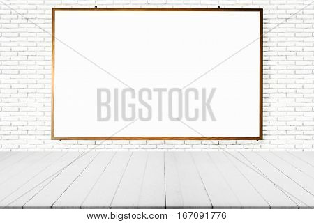 White board blank board or blank frame in room with brick wall and wooden floor for background.