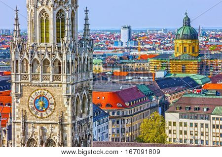 Munich landmarks, Germany Bavaria. Marienplatz town hall