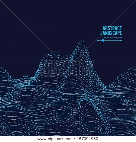 Abstract Landscape Background. Cyberspace With Dynamic Particles. Vector Illustration