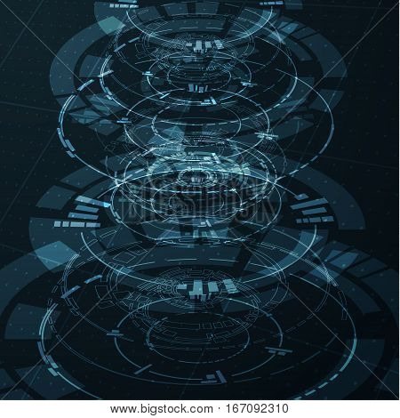 Circular technological shapes. Can be used for HUD interfaces. EPS10