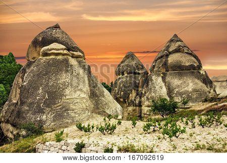 Cappadocia, Turkey. Sunset volcanic rock landscape, Goreme national park