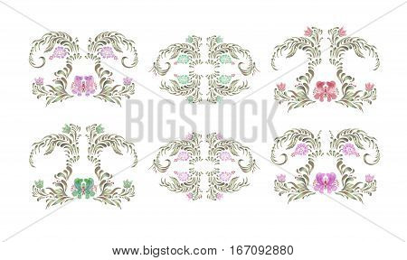 Beautiful Border With Flowers In Vintage Style.