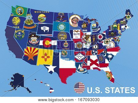 USA map with flags of states on blue background with Alaska and Hawaii