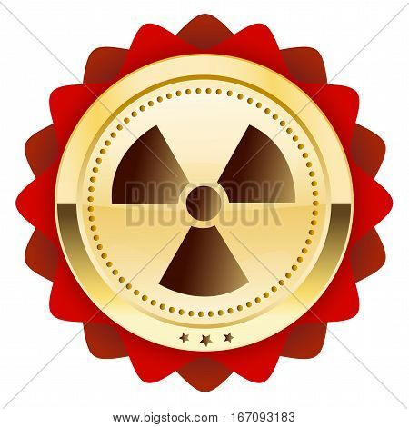 Warning or danger seal or icon with atomic symbol. Glossy golden seal or button with stars and red color.