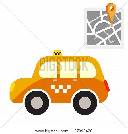 Taxi cab with map point vector illustration. Yellow cartoon car and geo tag symbol.