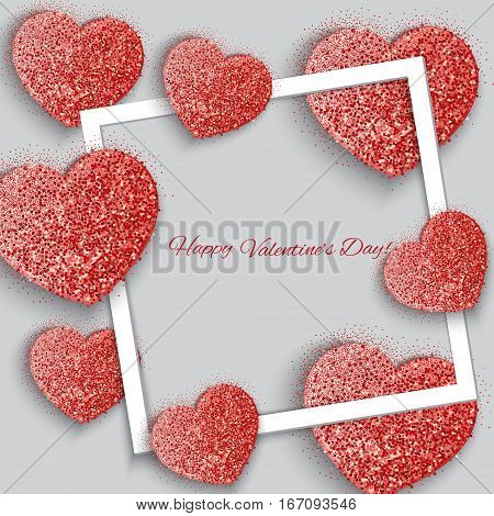 Valentine's day abstract background with g sparkling hearts