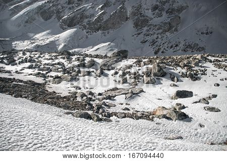 Stones in high rocky mountains. Nepal, Manaslu