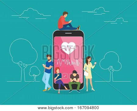 Health care mobile app concept illustration. Young men and women are standing near big smartphone and using their own smart phones for tracking heart beating data and getting information of pulse rate