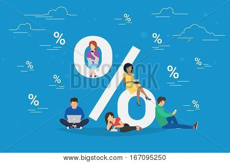 Sale concept illustration of young people using mobile gadgets such as tablet, laptop and smartphone for online purchasing goods with sale coupons and offers. Flat guys and women sitting on the symbol