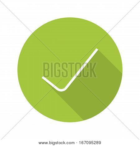 Tick flat design long shadow icon. Confirmation check mark. Accept and approve sign. Vector silhouette symbol