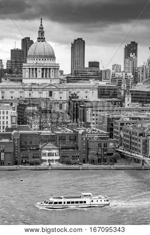 LONDON UK - OCTOBER 20 2016: High angle view of the river Thames and St Pauls from the Tate Modern extension's viewing gallery
