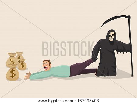 Greedy man facing death.Vector illustration.Concept of passing.