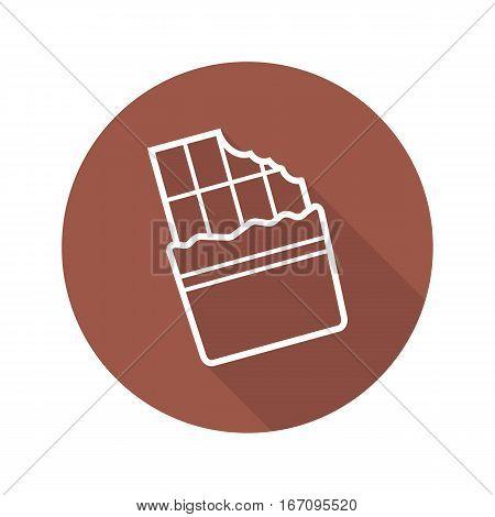 Chocolate flat linear long shadow icon. Bitten chocolate bar. Vector line symbol