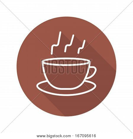Coffee flat linear long shadow icon. Hot steaming coffee cup on plate. Vector line symbol