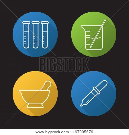 Chemical laboratory flat linear long shadow icons set. Lab tools. Test tubes, beaker with rod and liquid, mortar and pestle, pipette. Vector line symbols