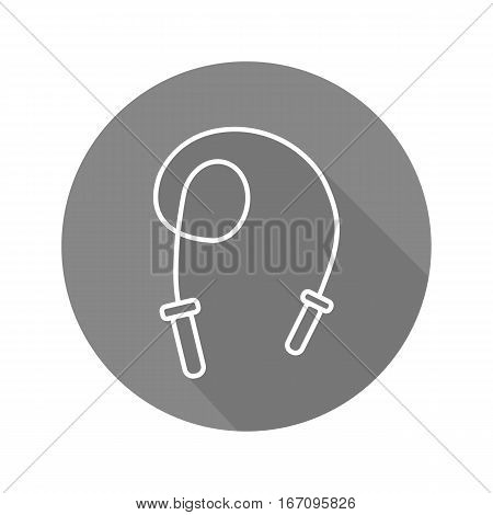 Skipping rope flat linear long shadow icon. Jumping rope. Vector line symbol