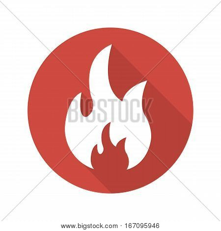 Flammable sign. Flat design long shadow icon. Flame danger symbol. Burning fire. Vector silhouette illustration