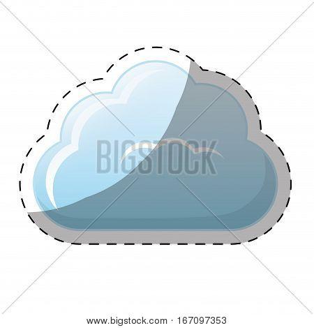 single fluffy cloud icon image sticker vector illustration design