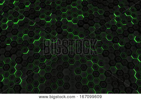 Wall Of Glowing Hexagons
