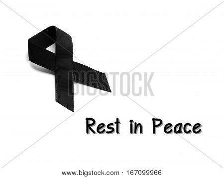 Black ribbon for mourning with rest in peace text on white background