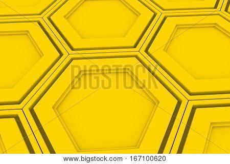 Wall Of Yellow Hexagons
