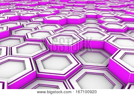 White Hexagons With Violet Glowing Sides