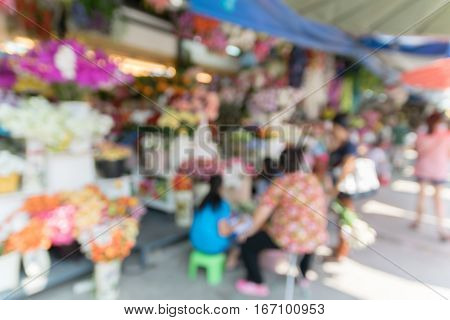 Abstract blurrred flower shop for background. Blur flower shop background.