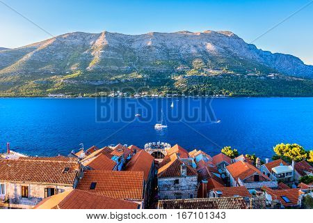 Aerial view at marble landscape at Korcula town and Peljeski Channel in Dalmatia region, Croatia, european travel summer resorts.