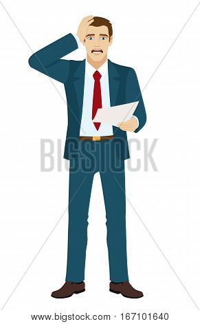 Shocked businessman holding his head. The businessman saw something shocking in the document. Vector illustration.
