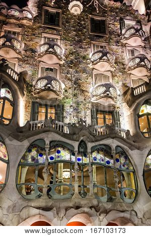 Barcelona, Spain - Jan 3, 2017: Casa Batllo of Antoni Gaudi. Fragment of famous building