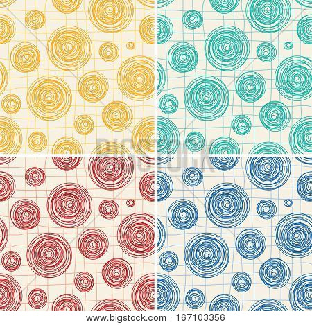 vector collection of seamless background patterns of abstract round line circles and a grid