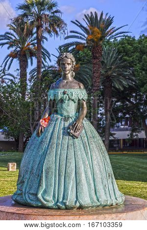 Funchal, Madeira - Jan 1, 2017: The monument Sisi (Empress Elizabeth Bavarian)