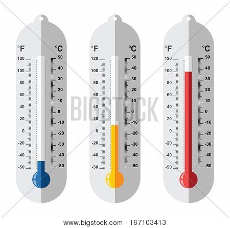 vector set of flat thermometer icons at different levels with fahrenheit and celsius scale