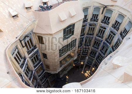 Barcelona, Spain - Jan 21, 2017: Famous house Casa Mila (La Pedrera) by Gaudi.