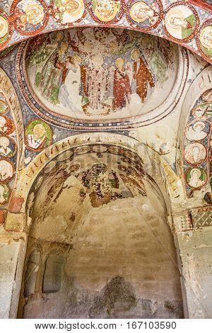 Goreme, Turkey - Jan 20, 2017: Early Christian fresco in cave orthodox church El Nazar in Cappadocia, Goreme open museum, Anatolia