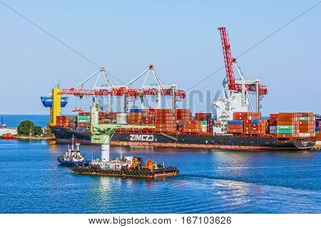 Odessa, Ukraine - Jan 3, 2017: Container ship in Odessa sea commercial port.