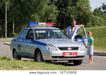 Gomel, Belarus - July 4, 2013: Traffic On The Machine Control Traffic. Issued Fines Offender.