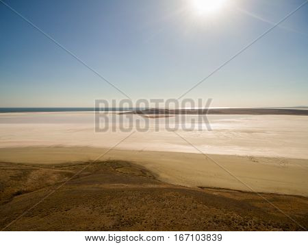 Aerial shot of Koyashskoe pink salt lake firth in Crimea