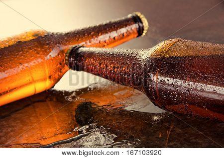 Cold Beer Bottles. Fresh Beer Bottles Concept.